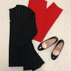Black and white stripe Anne Klein peplum top